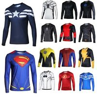 Men's Costumes Super heros Batman Long Sleeve T-shirts Casual Tee Shirt
