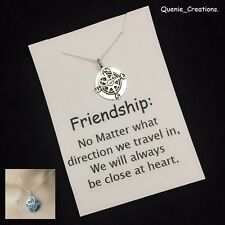 "Gorgeous Compass with Heart Silver Charm 18"" Chain Necklace."