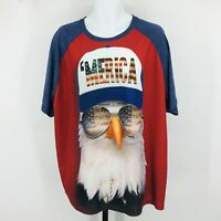 Faded Glory 'MERICA Graphic Tee Shirt Patriotic 4th of July Red White Blue 3XL