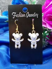 ** GOLD PLATED WHITE ENAMEL TEDDY EARRINGS - GOLD PLATED FRENCH HOOKS - NEW # 15