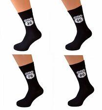 Da Uomo Compleanno Età calze nere. il design iconico ROUTE 66... qualsiasi età Made (X6N248)