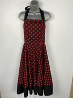 BNWT WOMENS DOLLY&DOTTY BLACK/RED SPOTS 50'S VINTAGE ROCKABILLY SWING DRESS UK10