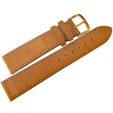 20mm Fluco Saddle Brown Suede Leather GOLD Buckle German Made Watch Band Strap