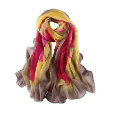 Extra Long and Wide Chiffon Scarf Beach Scarf Brown and Pink Floral Print CHD327