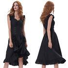 Cool mujer sin mangas cuello en V Retro Negro Vestido de fiesta largo