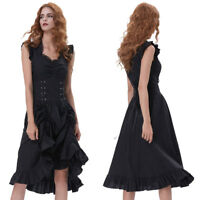 Ladies Sleeveless V-Neck Retro Black Party Dress Long Gothic Victorian Steampunk