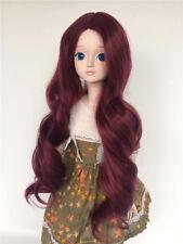 "New 1/4 Girl BJD SD Doll Wig Dollfie 7"" DOD Big Baby Bjd Doll Wig Long Wine red"