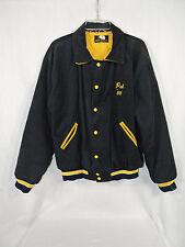 Vintage 80's La Salle Varsity Jacket Size Large Black Corduroy Gold Snap Lined