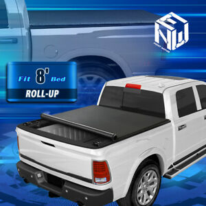 For 02-18 Dodge Ram 1500 2500 3500 8Ft Bed Soft Vinyl Roll Up Lock Tonneau Cover