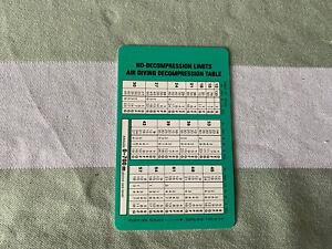 ROLEX Sea-Dweller Original 16660 Buehlmann Table Card  1986