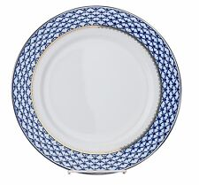 "1 Russian Cobalt Blue Net Dessert Plate 6.5"" Petersburg 24 kt Gold Bone China"