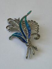 BROCHE ARGENT EMAIL BLEUE MARCASSITES ARGENT MASSIF SILVER ENAMEL BLUE BROCH