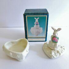 Bunny Covered Heart Trinket Box Ceramic Rabbit Figurine Holder