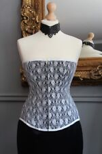 "22"" black satin corset with white lace overlay, handmade in UK, Axfords"