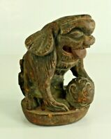 = Antique 19th c. Chinese Wood Carving of Shishi Guardian Lion, Foo Dog