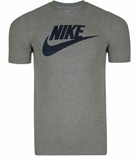 New Men's Nike Large Swoosh Logo Fitted T-Shirt, Top - Grey