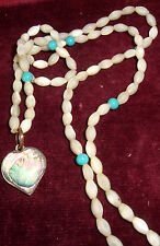 VintageOutstanding Mother of Pearl & Turquoise Beads Necklace Abalone Pendant