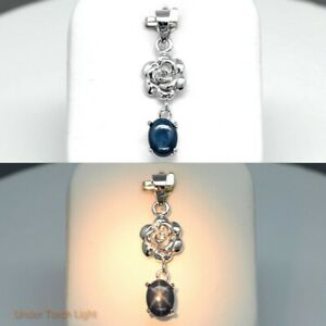 8x6mm Natural 6 Ray Dark Blue Star-Sapphire Pendant in 925 Silver