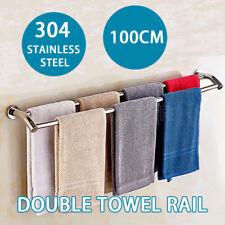 1000MM Towel Rail Double Rack Bathroom 2 Bar Hanger Wall Mount Stainless Steel