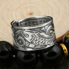 Sterling Silver Engraved Sutra Buddhist Mantra Koi Fish Ring Statement Rings