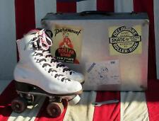 Vintage Chicago White Leather Rollerskates Sz.7 w/Case Rink Sticker Collection#2