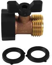 Kasian House Heavy Duty Brass Garden Hose Connector With Shut Off Valve And Comf