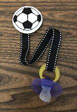 SOCCER Ribbon Pacifier holder clip strap, binky, paci leash-Handmade-Free Ship