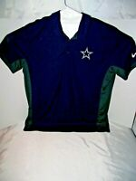 NFL Dallas Cowboys NIKE Dri Fit Gray Blue Polo Golf Shirt Men's XL Extra Large