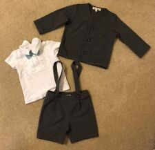 Harry & Violet Gray And White Suspenders Jacket Bowtie Set Size 18 Months