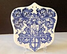 VTG Hand-painted Ceramic Coat of Arms Wall Trivet Tile Art Kitchen Home Decor