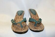 Ladies Dorothy Perkins Green Toe Post Shoes Size 6 Animal Print Sandals