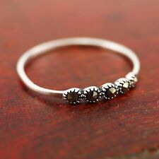 925 Sterling Silver Women Jewelry Marcasite Knuckle Midi Stackable Ring A3154