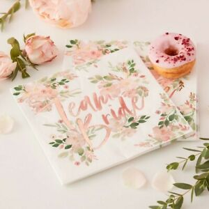 16 NAPKINS TEAM BRIDE Floral Rose Gold Party to Be Bridal Shower Hen Night Kit