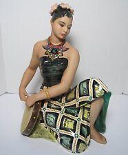 "LE BERTETTI ITALIAN POTTERY BALINESE WOMAN FIGURINE 16"" TORINO ART DECO"
