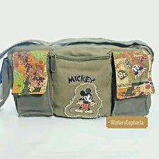 Disney Mickey Mouse Small Purse Canvas  Army Green Top Zip Closure Handbag New