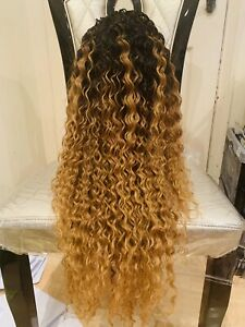 Ombré Blonde Water Waves Curly Human Hair Blend Lace Front Wig 32""