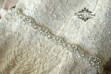 OPAL BRIDAL SASH wedding belt Vintage Crystal Pearls Dress Rhinestone thin