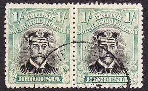"Rhodesia 1918 1/- DIE 3B PLATE 8 STATE 2 POS 17/18 ""CHOPSTICKS FLAW"" KALENE HILL"