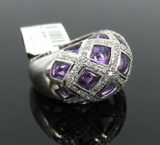 White Gold Dome Ring Size 7 Fine 5.23ct Amethyst & 0.68ct Diamond 18K