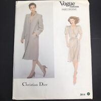 Vintage Vogue Sewing Pattern 2814 Size 14 Christian Dior Designer Dress Coat Vtg