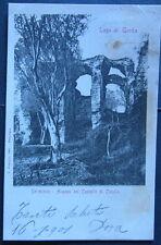 Cartolina d'epoca Lago di Garda - Sermione Avanzi del Castello -  postcard