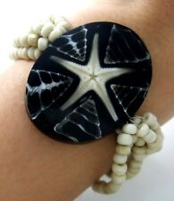 """1.8"""" Oval Cone Shell & Star Fish Beads Stretch bracelet 6""""-9"""" Adjustable; AA203"""