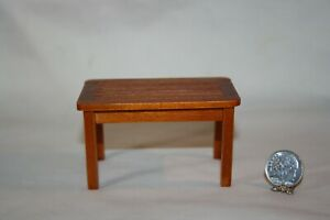 Miniature Dollhouse Redwood Stained Wood Coffee Table Indoor/Outdoor 1:12 NR