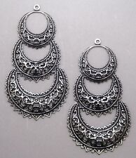 #2179 ANTIQUED SS/P OPEN FILLIGRE TRIPLE CRESCENT W/TOP HANG RING - 2 Pc Lot