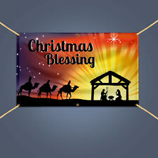 Blessed Christmas Banner, 16 Oz Waterproof Vinyl Sign with Hem+Grommets, 5' X 3'