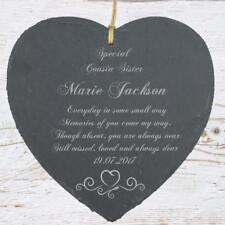 Personalised Cousin Sister Memorial Remembrance Slate Plaque Heart Symbol MEMCS1