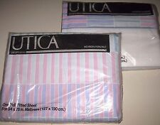 """NIP Vintage Purple Pink FULL Size Low 9""""-10"""" FITTED &FLAT Bed Sheets Made in USA"""