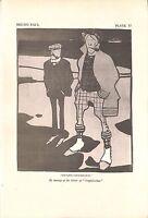 English civilisation.Bruno Paul.Caricature.Dated 1928.Genuine.Antique.Cartoon
