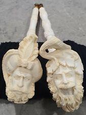 2 Antique meerschaum pipes. XL Block Carved The Sultan & Bacchus Dionysus