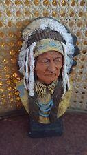 "D. Monfort ""Sitting Bull "" 1982 Original Western Hydro Stone Sculpture Statue"
